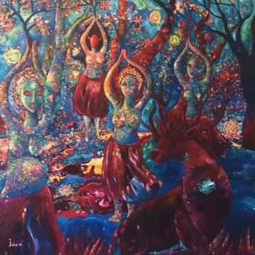 Les Bacchantes. Acrylique sur toile 1 mètre x 1 mètre.