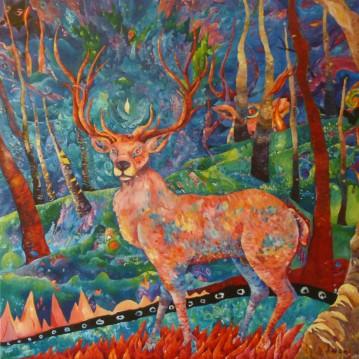 Cerf rose. Acrylique sur toile 1 mètre x 1 mètre.