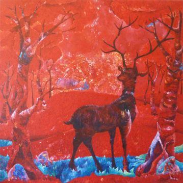 Cerf rouge. Acrylique sur toile 1 mètre x 1 mètre.