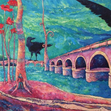 Les corneilles du pont neuf. Acrylique sur toile 1 mètre x 1 mètre.