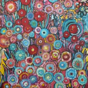 Bouquet de fleurs. Acrylique sur toile 40 x 60 cm.