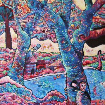 Jardin des plantes. Acrylique sur toile 60 x 80 cm.