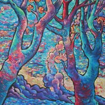 L'entrée. Acrylique sur toile 60 x 80 cm.