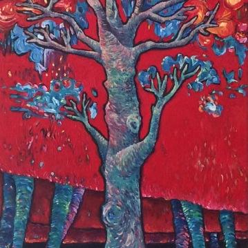 Raiz. Acrylique sur toile 40 x 80 cm.