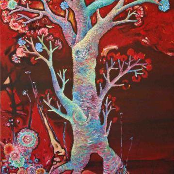 Rouge II. Acrylique sur toile 40 x 80 cm.
