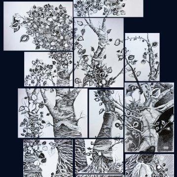 Composición Blanco y Negro. Encre de Chine sur Papier