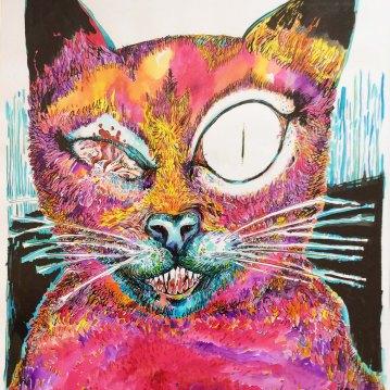 """Série """"Le chat en colère"""" encre de Chine sur papier. 60 x 80 cm."""