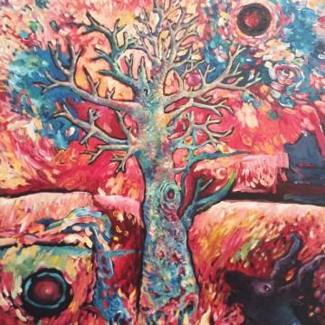 Árbol en llamas. Acrylique sur toile 38 x 46 cm.