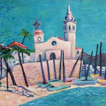 Sin titulo (Sitges) Acrylique sur toile, 33 x 55 cm.